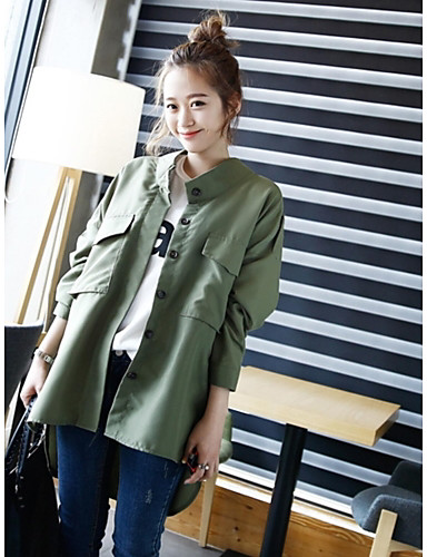 Women's Daily Modern/Comtemporary Spring Trench Coat,Solid Round Neck Long Sleeve Regular Bamboo Fiber