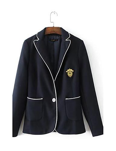 Women's Casual Party/Cocktail Pattern Spring/Fall Jacket,Print Shirt Collar Long Sleeve Regular Cotton