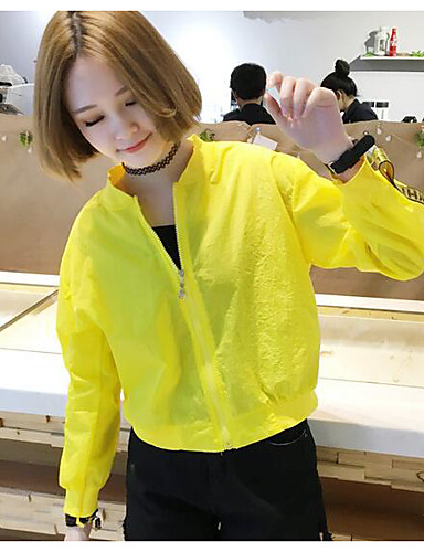 Women's Casual Simple Casual Summer Jacket,Print Stand Long Sleeve Regular Polyester