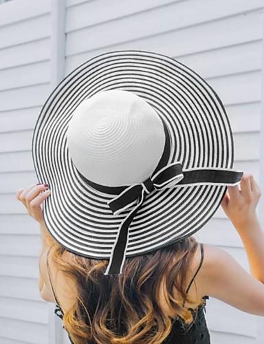 abordables Accessoires Femme-Femme Acrylique Paille Simple Chapeau de soleil-Couleur unie,Rayé Blanc Noir Printemps Eté