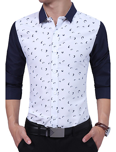 Men's Daily Work Plus Size Vintage Casual All Seasons Shirt,Print Color Block Shirt Collar Long Sleeves Cotton Rayon Thick
