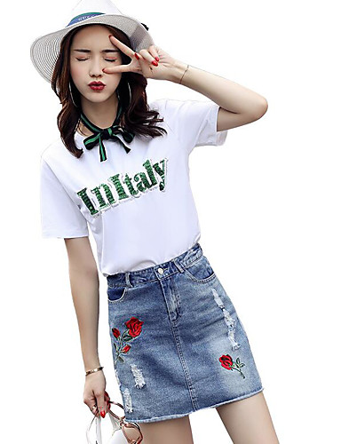 Women's Daily Casual Contemporary Summer T-shirt Skirt Suits,Quotes & Sayings Round Neck Short Sleeve