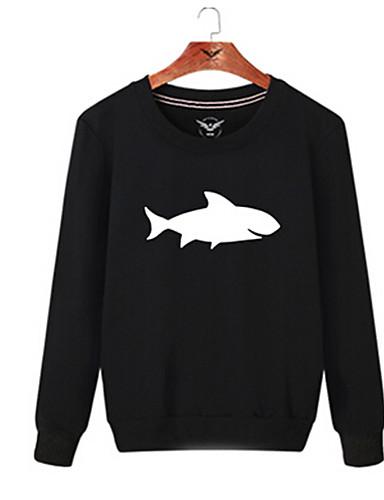 Men's Daily Sweatshirt Solid Print Round Neck Micro-elastic Cotton Long Sleeve Winter