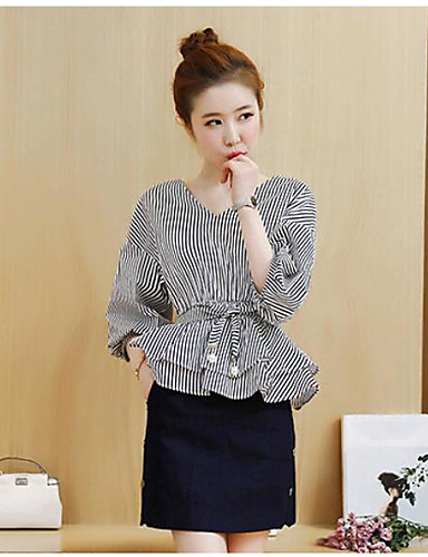 Women's Daily Casual Casual Summer Shirt Skirt Suits,Striped V Neck 1/2 Length Sleeve Inelastic