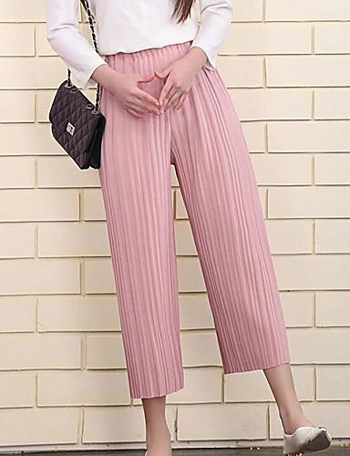 Women's High Waist Inelastic Culotte Pants,Cute Wide Leg Solid