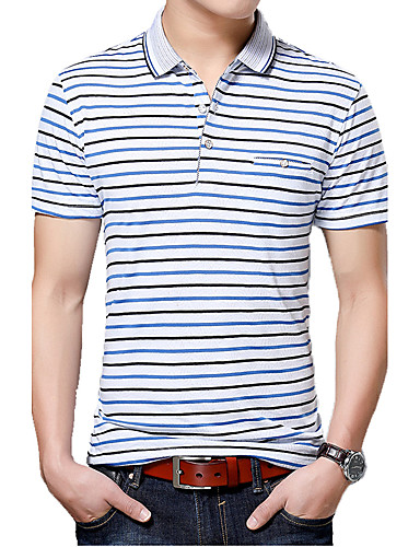 Men's Work Casual Cotton T-shirt - Solid Colored / Striped Shirt Collar / Short Sleeve