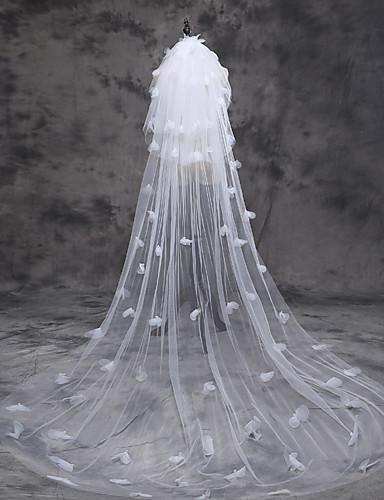 Three-tier Cut Edge Wedding Veil Cathedral Veils 53 Satin Bow Tulle