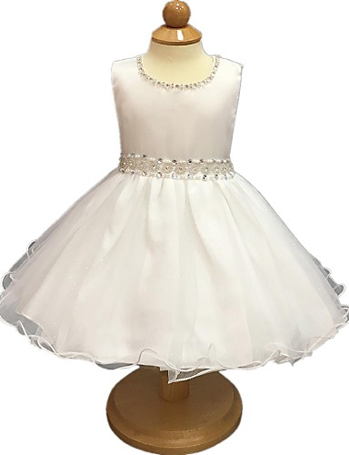 Ball Gown Short / Mini Flower Girl Dress - Organza Sleeveless Jewel Neck with Ribbon by YDN