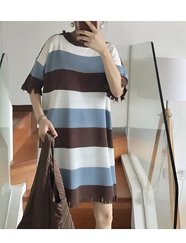 Normal Pullover Avslappet Sexy Dame,Stripet Rund hals 3/4 ermer 100% Cotton Sommer Medium Mikroelastisk