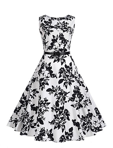 Women's Party Daily Holiday Vintage Street chic Sheath Swing Dress,Print Round Neck Knee-length Sleeveless Polyester Summer Mid Rise