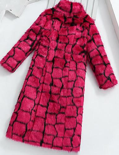 Women's Fur Coat - Solid Stand