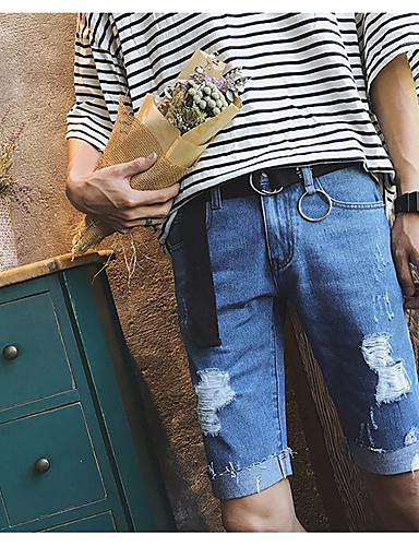 Men's Mid Rise Micro-elastic Jeans Shorts Pants,Simple Straight Solid