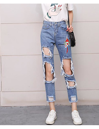 Women's High Waist Micro-elastic Relaxed Jeans Chinos Pants,Sexy Print Summer