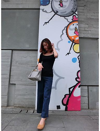 Kort Pullover Ut på byen Fritid/hverdag Sexy Søt Gatemote Dame,Ensfarget Rund hals Kortermet Ull Bomull Akryl Høst Vinter Tynn Uelastisk
