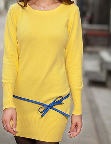 Women's Going out Sexy Long Pullover,Solid Round Neck Long Sleeves Cashmere Cotton Spring Medium Stretchy