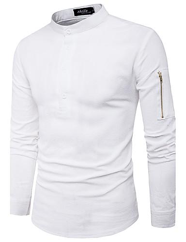 Herren Solide Street Schick Lässig/Alltäglich Hemd,Ständer Langarm Polyester