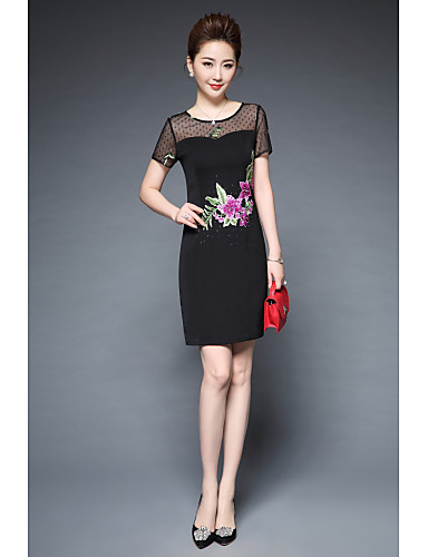 Women's Work Casual Street chic A Line Sheath Dress - Embroidered Cut Out