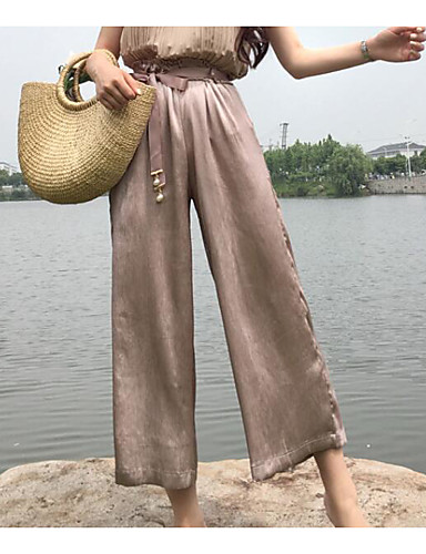 Women's Mid Rise Micro-elastic Wide Leg Pants,Simple Relaxed Solid