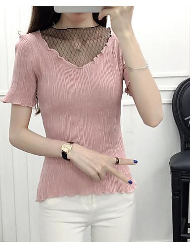 Women's Daily Regular Cardigan,Solid V Neck Short Sleeves Cotton Spring Medium Micro-elastic