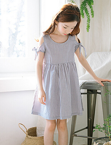 Girl's Solid Striped Dress