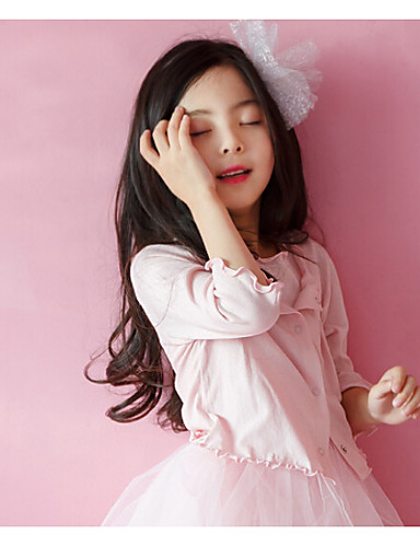 Girls' Solid Blouse,Cotton Spring Short Sleeve