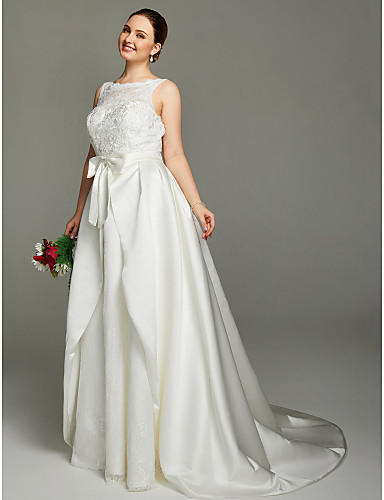 A-Line Illusion Neckline Court Train Lace Satin Wedding Dress with Appliques Bow(s) Sashes/ Ribbons by LAN TING BRIDE®
