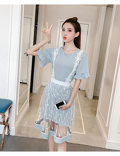 Women's Casual T-shirt - Solid Colored / Lace Dress / Summer