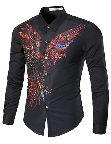 Men's Weekend Cotton Slim Shirt - Solid Animal Print, Print Classic Collar