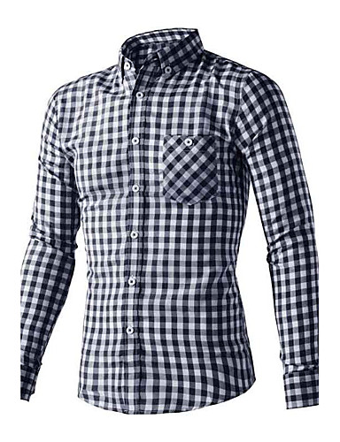 Men's Daily Plus Size Active Street chic Summer Shirt,Striped Standing Collar Long Sleeves Cotton Polyester Thin