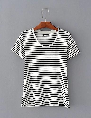 Bomull Tynn Medium Kortermet,V-hals T-skjorte Stripet Vår Høst Sexy Enkel Gatemote Ut på byen Fritid/hverdag Dame