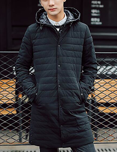 Men's Long Down Coat,Simple Casual/Daily Solid-Others Gray Duck Down Long Sleeves