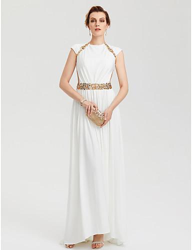Tubinho Gola Redonda Assimétrico Microfibra Jersey Evento Formal Vestido com Miçangas de TS Couture®