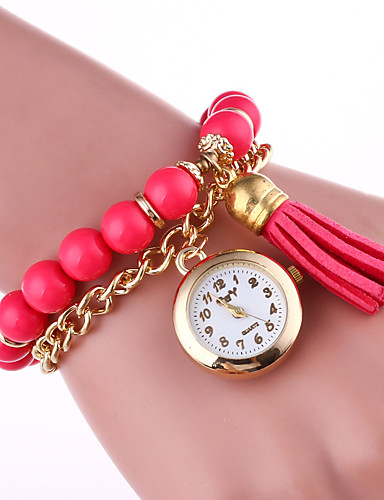 Women's Quartz Bracelet Watch Hot Sale Pearl Band Creative Elegant Black White Blue Green Pink Yellow Rose