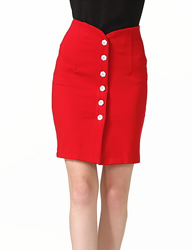 Women's Daily Going out Club Holiday Above Knee Skirts,Casual Sexy Bodycon Cotton Polyester Solid Spring Summer Fall