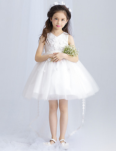 Ball Gown Short / Mini Flower Girl Dress - Tulle Sleeveless V Neck with Bowknot Embroidery by Amgam