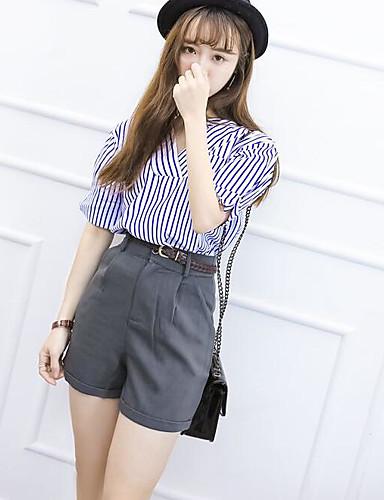 Mikroelastisk Kortermet,V-hals T-skjorte Bukse Drakter Stripet Sommer Stripet Fritid Fritid/hverdag Dame