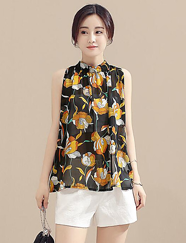 Women's Daily Casual Contemporary Summer Blouse Pant Suits,Floral Crew Neck Sleeveless Polyster