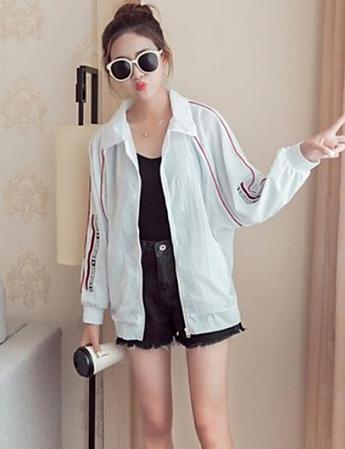 Women's Daily Casual Summer Jacket,Solid Shirt Collar Long Sleeve Regular Polyester