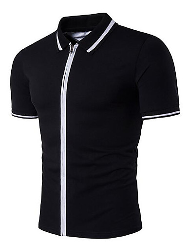 Men's Simple Cotton T-shirt - Solid Colored / Striped Shirt Collar / Short Sleeve