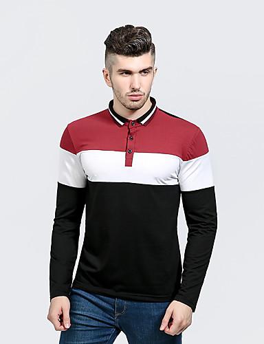 Bomull / Polyester Skjortekrage T-skjorte Herre - Fargeblokk Chinoiserie / Langermet