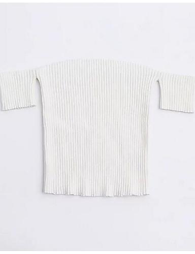 Damen Solide Sexy Ausgehen T-shirt,Bateau Kurzarm Baumwolle Mittel