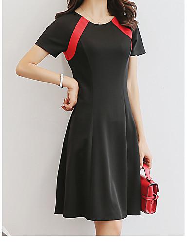 Damen Bodycon Kleid-Lässig/Alltäglich Einfach Solide Einfarbig Rundhalsausschnitt Knielang Kurzarm Polyester Sommer Mittlere Hüfthöhe
