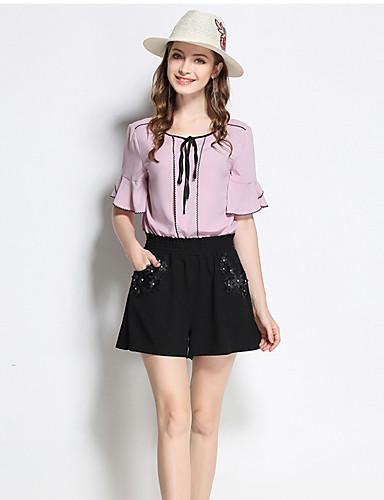 Damen Einfach Mittlere Hüfthöhe Mikro-elastisch Kurze Hosen Schlank Hose Solide