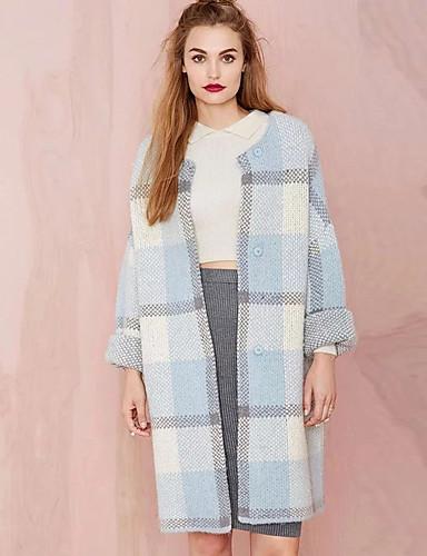 Damen Standard Strickjacke-Ausgehen Lässig/Alltäglich Einfach Street Schick Solide Einfarbig Rundhalsausschnitt Langarm Baumwolle