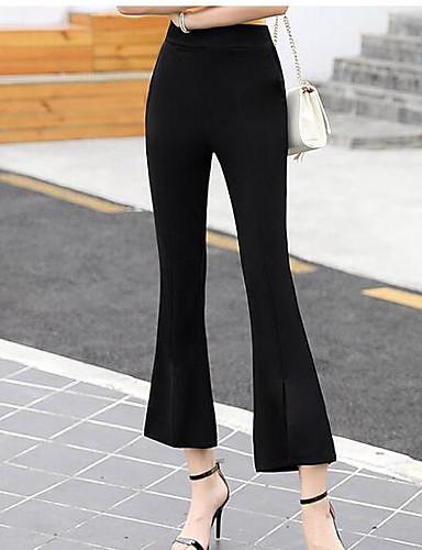 Damen Einfach Hohe Hüfthöhe Unelastisch Chinos Bootcut Hose Solide