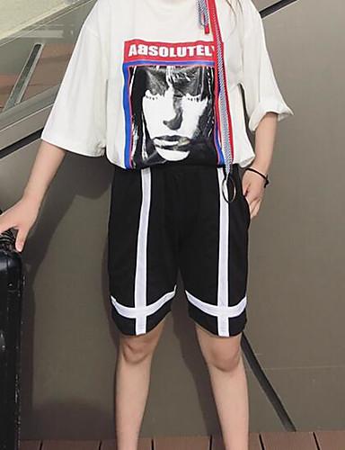 Damen Einfach Hohe Hüfthöhe Unelastisch Kurze Hosen Breites Bein Hose Solide Gestreift