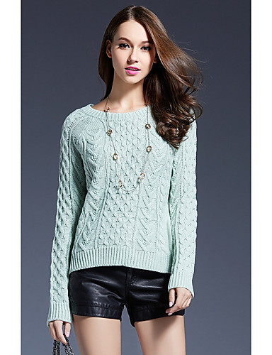 Damen Standard Pullover-Lässig/Alltäglich Niedlich Solide Rundhalsausschnitt Langarm Acryl Herbst Dick Mikro-elastisch