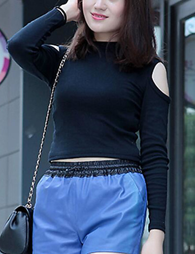 Damen Solide Einfach Lässig/Alltäglich T-shirt,Rundhalsausschnitt Frühling 3/4 Ärmel Acryl Undurchsichtig