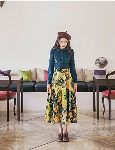 Damen Solide Einfach Lässig/Alltäglich Shirt Rock Anzüge,Hemdkragen Frühling Herbst Lange Ärmel