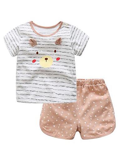 Baby Kinder Kleidungs Set Lässig/Alltäglich Streifen Baumwolle Sommer Blau Braun